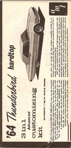 Inst Sheet 1964 Thunderbird 3 in 1