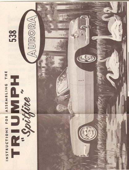 Inst Sheet 1964 Triumph Spitfire