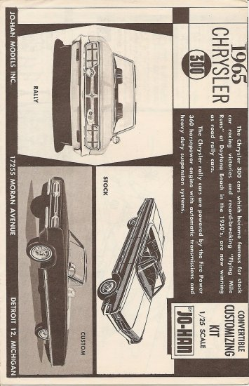 Inst Sheet 1965 Chrysler 300