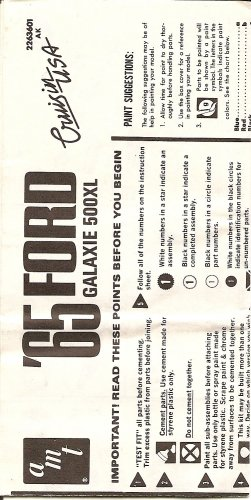 Inst Sheet 1965 Ford Galaxie 500XL Cruisin USA