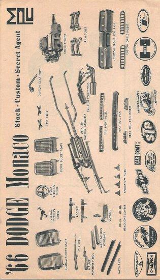 Inst Sheet 1966 Dodge Monaco