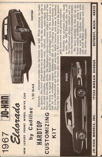Inst Sheet 1967 Eldorado Hardtop