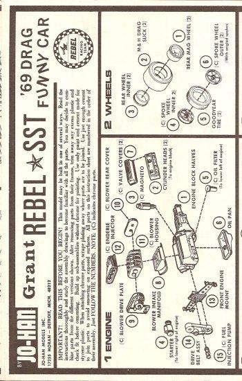 Inst Sheet 1969 Drag Funny Car Rebel SST
