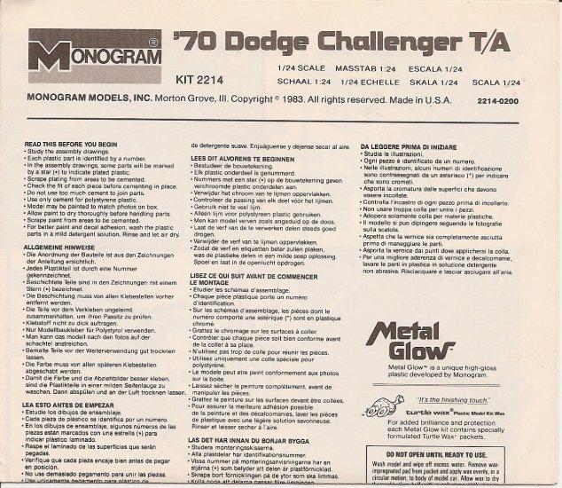 Inst Sheet 1970 Dodge Challenger TA