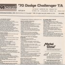 Inst Sheet 1970 Dodge Challenger TA