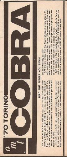 Inst Sheet 1970 Torino Cobra