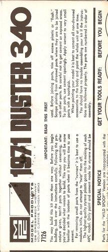 Inst Sheet 1971 Duster 340