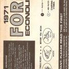 Inst Sheet 1971 Ford Econoline