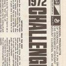 Inst Sheet 1972 Challenger