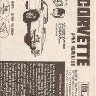 Inst Sheet 1972 Corvette Open roadster