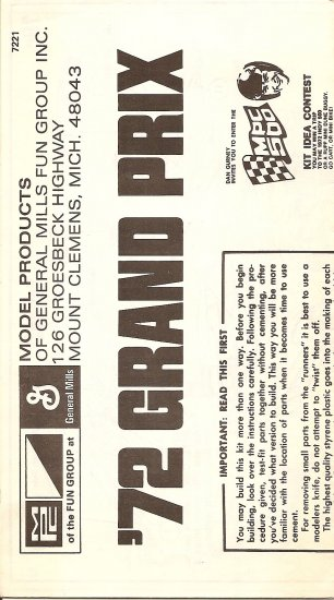 Inst Sheet 1972 Grand Prix