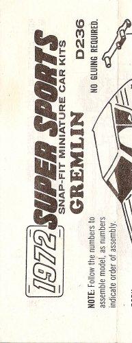Inst Sheet 1972 Gremlin Snap Fit