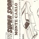 Inst Sheet 1972 Monte Carlo Snap Fit