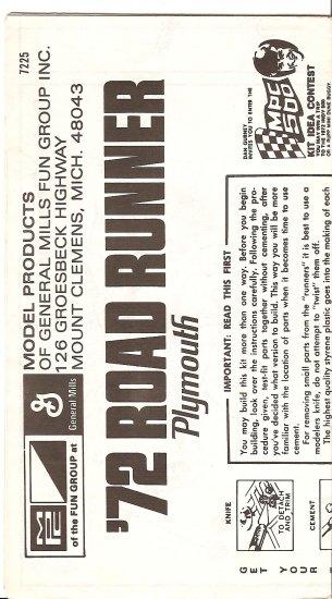 Inst Sheet 1972 Road Runner
