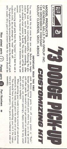 Inst Sheet 1973 Dodge pick Up