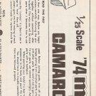 Inst Sheet 1974 Camaro