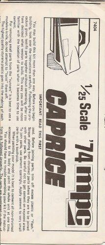 Inst Sheet 1974 Caprice