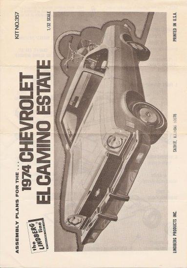 Inst Sheet 1974 Chev El Camino Estate