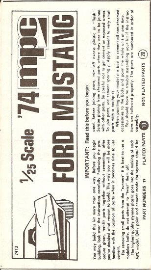 Inst Sheet 1974 Ford Mustang