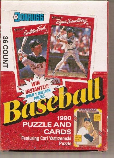 1990 DONRUSS BASEBALL PUZZLE AND CARDS BOX # 1, 8.5 VF +