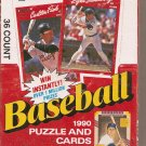 1990 DONRUSS BASEBALL PUZZLE AND CARDS BOX # 1, 8.5 VF +