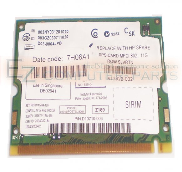 Intel D10710-003 Wireless 2200BG PCI WLAN Card   *A*  !