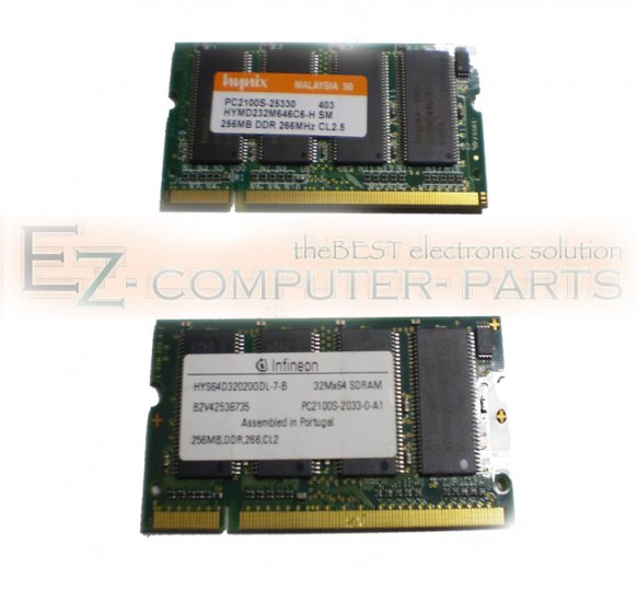 LOT OF 2  256MB DDR PC2100S 266MHz 200PIN CL2.5 Memory!