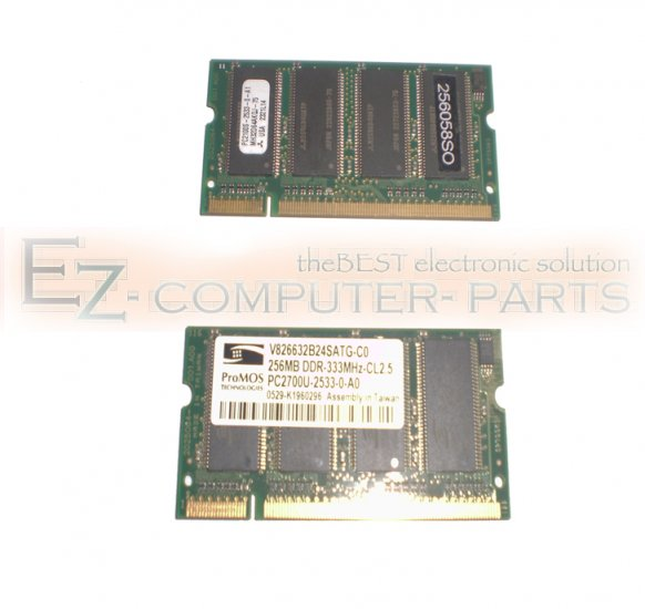 Lot of 2 Memory of 256MB DDR 333MHz Total 512 Grade A !