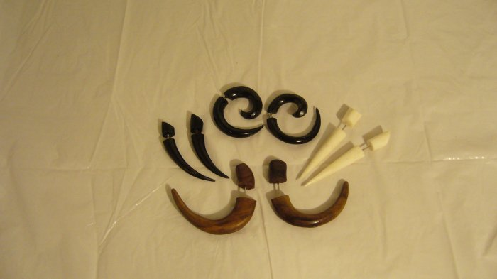 All Natural Bone and Wooden Cheater Expander Earrings Set of 4