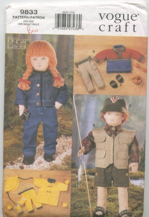 """Vogue Craft 9833 Doll Clothes, 18"""" Doll Pattern"""