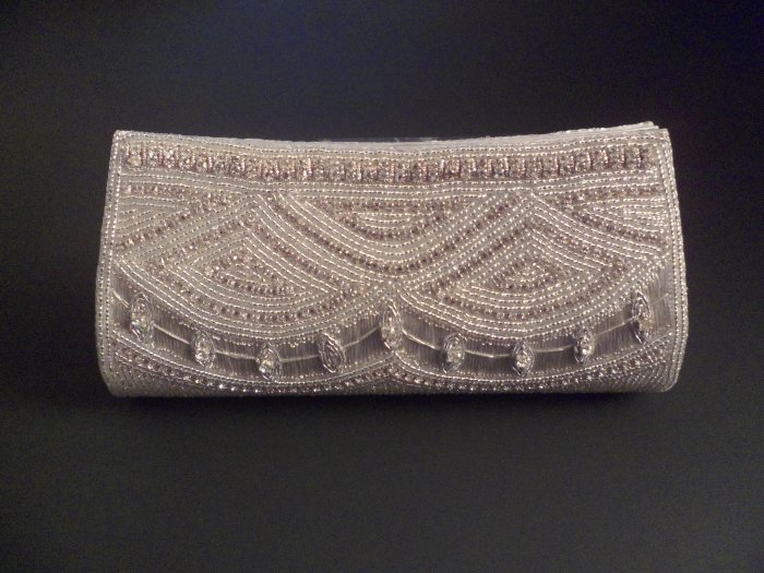 Silver & white beaded evening purse/clutch