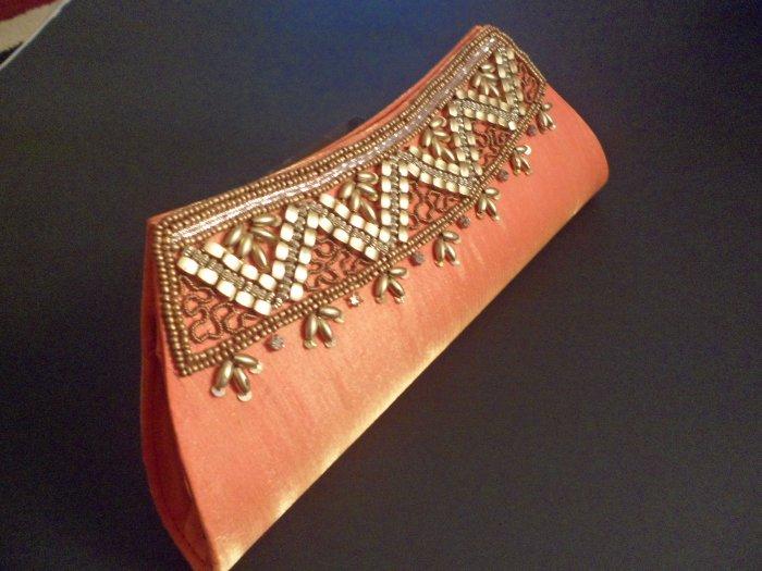 Orange and Golden handicraft purse/clutch