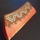 Orange and Golden handicraft purse/clutch