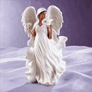 Porcelain Afro-American Angel With Dove -31717