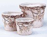 Nesting Ceramic Planters with Roses -34067