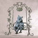 Frogs on Swing Sculpture with Bud Vases -33909