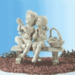 Garden Boy & Girl on Bench -32225