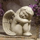 Stone-Finished Sitting Angel -29302