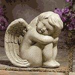 Stone-Finished Sitting Angel -29302
