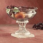 Glass Fruit Bowl On Alabastrite Stone-Finished Base -30657