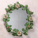 Metal Rose Wall Mirror -33595