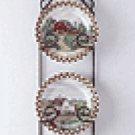 4-Piece Porcelain Farm-Scene Plate Set With Display -31186