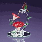 Spun Glass Hummingbird with Flowers -32166