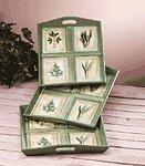 Green Leaf Motif 3 Pc Tray Set -31582