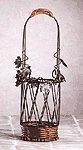 Metal-Rattan Wine Bottle Basket -27090