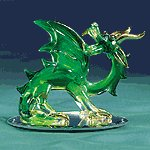 Green Glass Dragon With Wings -31065