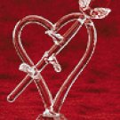 Cut Glass Rose On Heart With Base -29390