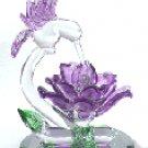 Glass Sculpture Hummingbird With Flower -27106