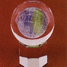 Etched Glass Block Paperweight - Globe -31122