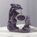 Porcelain Oil Burner - Marblelized Dolphins -30128
